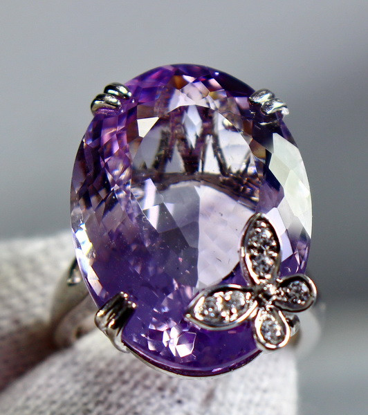 52.20 Cts Unheated & Natural ~ Purple Amethyst Silver Ring