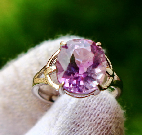 18.40 Cts Unheated & Natural ~ Purple Amethyst Silver Ring