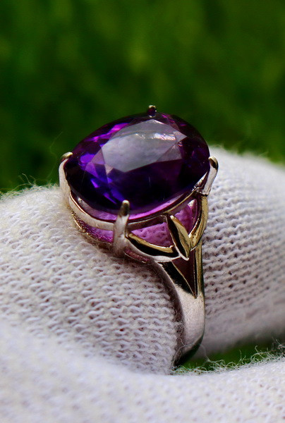 19.00 Cts Unheated & Natural ~ Purple Amethyst Silver Ring