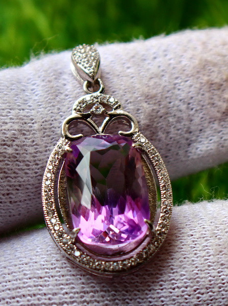 28.40 Cts Unheated & Natural ~ Purple Amethyst Silver Pendant