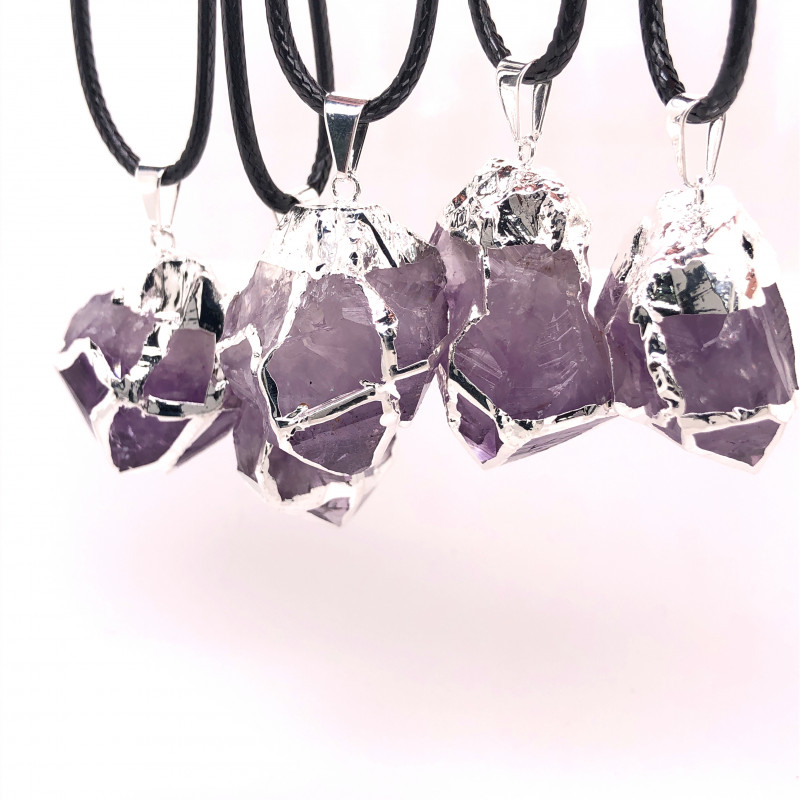Parcel 5 x Amethyst Terminated Point Pendant BR 776