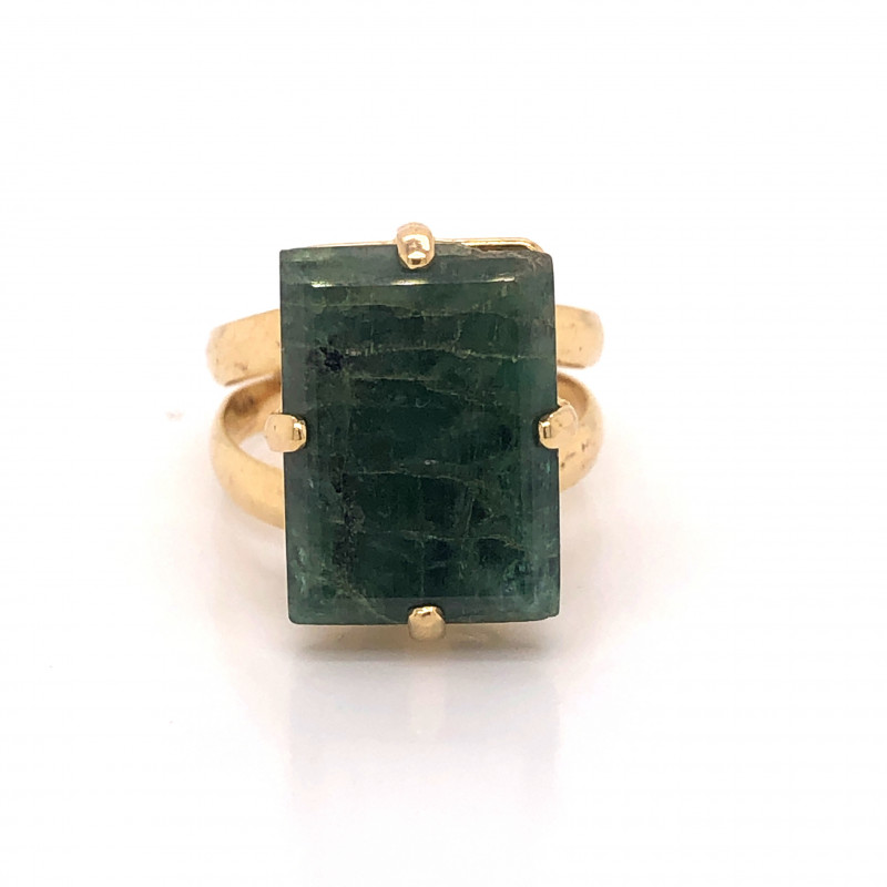 Large  Natural Brazilian Emerald in Gold Plated ring BR 2174