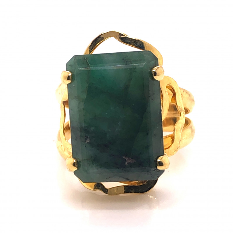 Large  Natural Brazilian Emerald in Gold Plated ring BR 2175