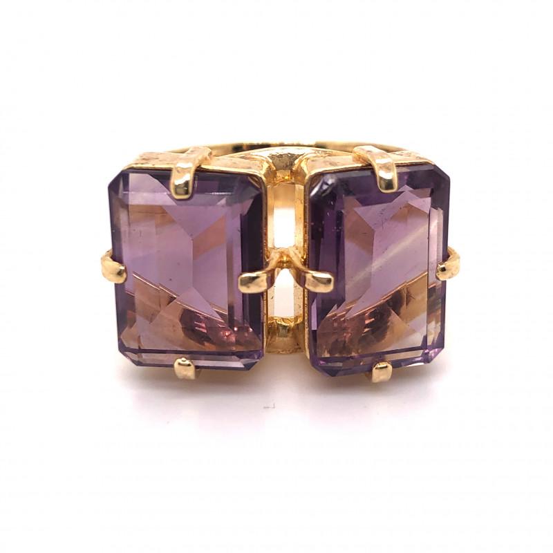 Beautiful  Dual rectangular Amethyst Ring  BR  2174