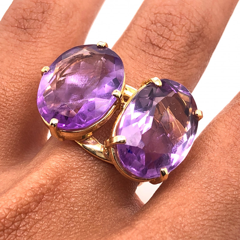 Beautiful  Two large  Amethyst stones in Ring  BR 2176