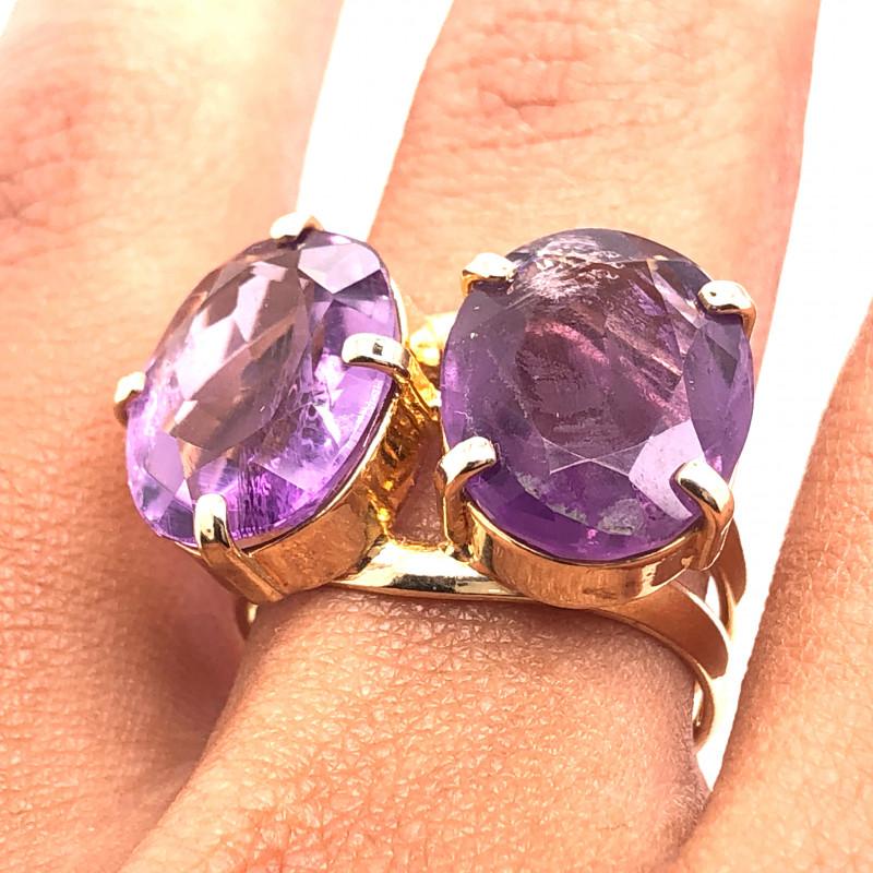 Beautiful  Amethyst ,dual stones Ring  BR 2177