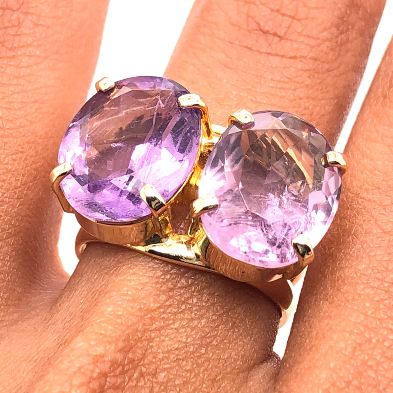 Beautiful  Amethyst  dDual Stones  Ring  BR 2178