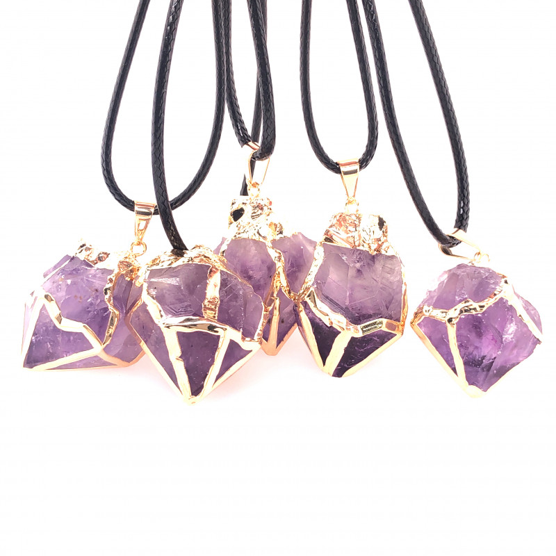 Parcel 5 x Amethyst Terminated Point Pendant BR 790