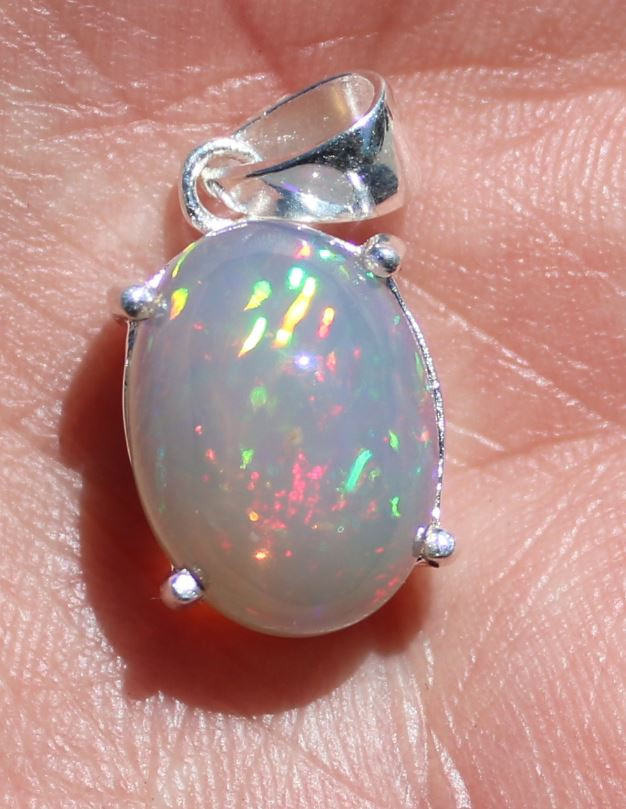 White Opal 7.72ct Solid 925 Sterling Silver Rhodium Finish Pendant