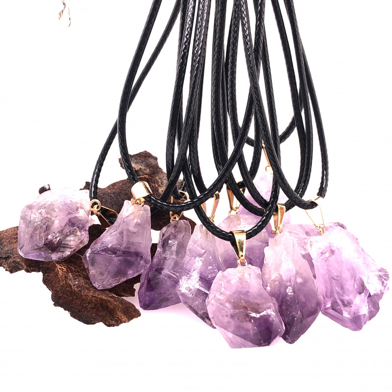 Parcel 10 x Amethyst Terminated Point Pendant BR 795