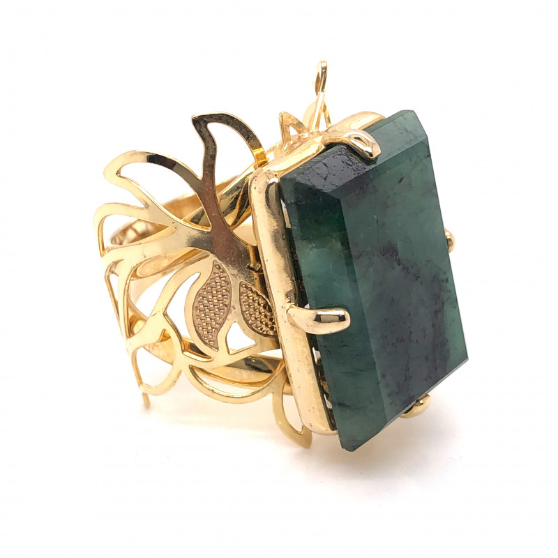 Large  Natural Brazilian Emerald in Gold Plated ring BR 799