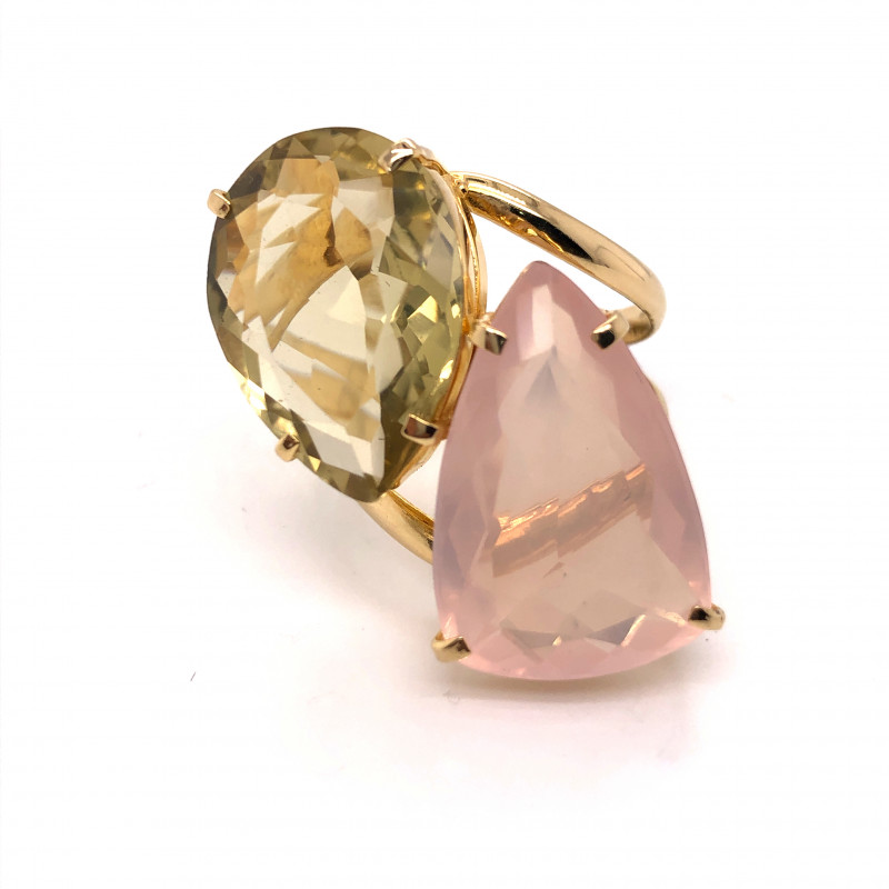Large  Natural Brazilian Amethyst n Quartz in Gold Plated ring BR 800