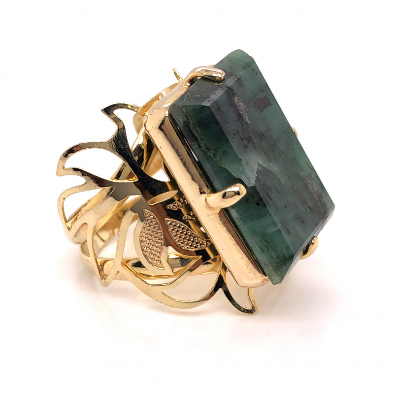 Large  Natural Brazilian Emerald in Gold Plated ring BR 803