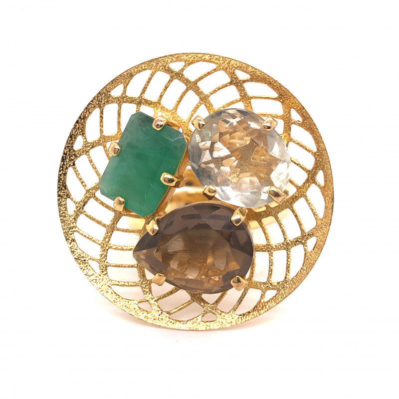 Large  Natural Brazilian Emerald ,quartz in Gold Plated ring BR 804