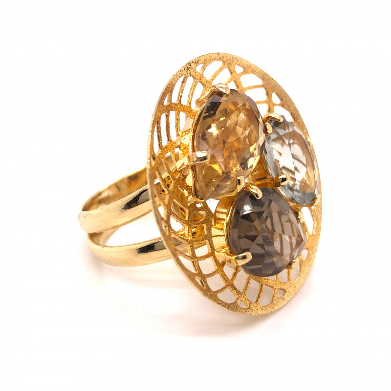 Large  Natural Brazilian Quartz n citrine in Gold Plated ring BR 805