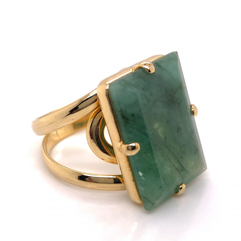 Large  Natural Brazilian Emerald in Gold Plated ring BR 806