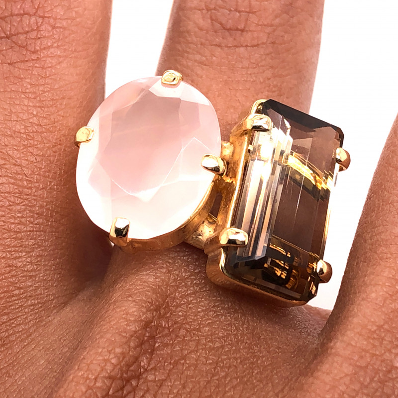 Large  Natural Brazilian Dual Quartz  in Gold Plated ring BR 808