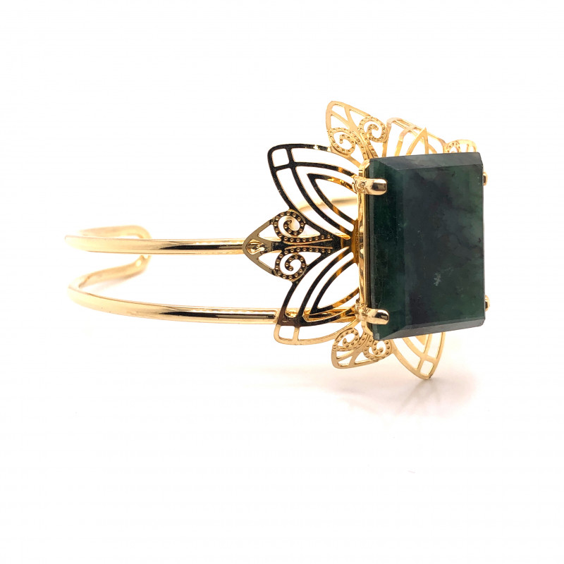 Natural Brazilian Emerald in Gold Plated  Bracelet  BR 810