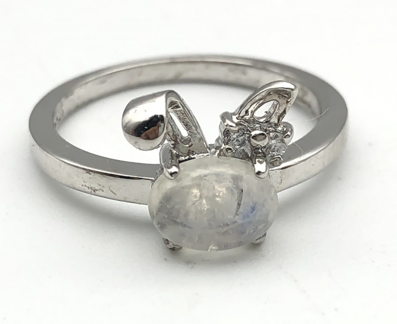 11.33 Crt Natural Moonstone 925 Silver Ring ( RK-5 )