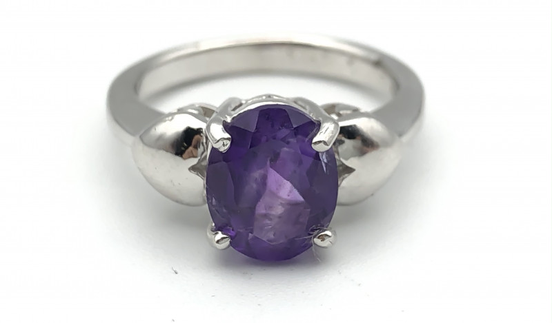 17.26 Crt Natural Amethyst 925 Silver Ring ( RK-5 )