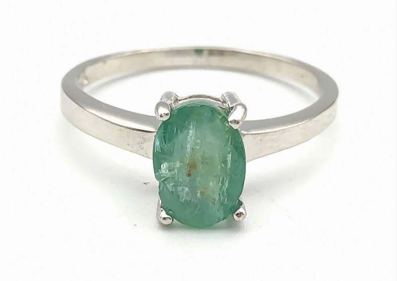 10.87 Crt Natural Emerald 925 Silver Ring ( RK-5 )