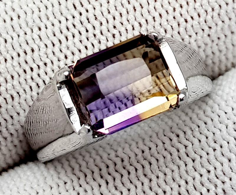 Natural Bolivian Ametrine Beautiful 925 Sterling Silver Ring (NJT49)
