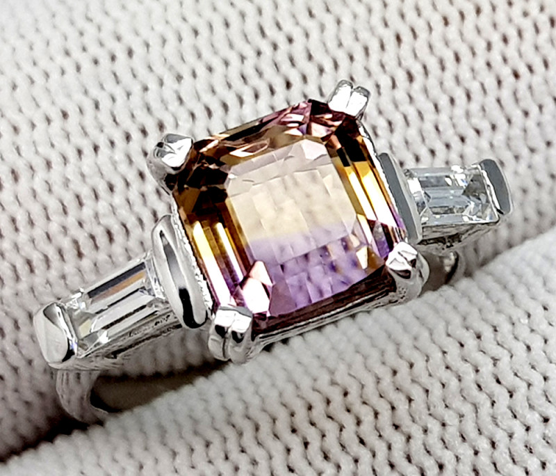 Natural Bolivian Ametrine Beautiful 925 Sterling Silver Ring (NJT50)