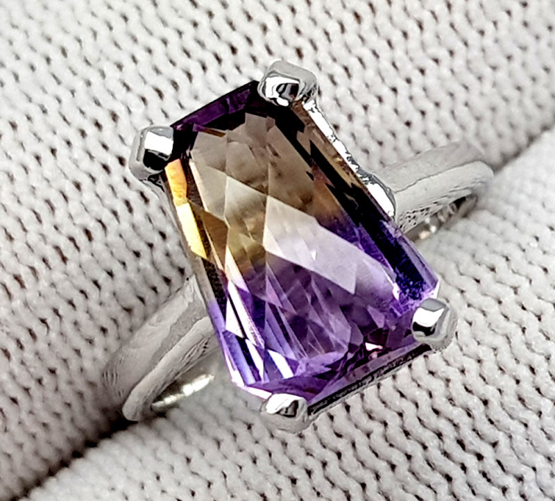 Natural Bolivian Ametrine Beautiful 925 Sterling Silver Ring (NJT51)