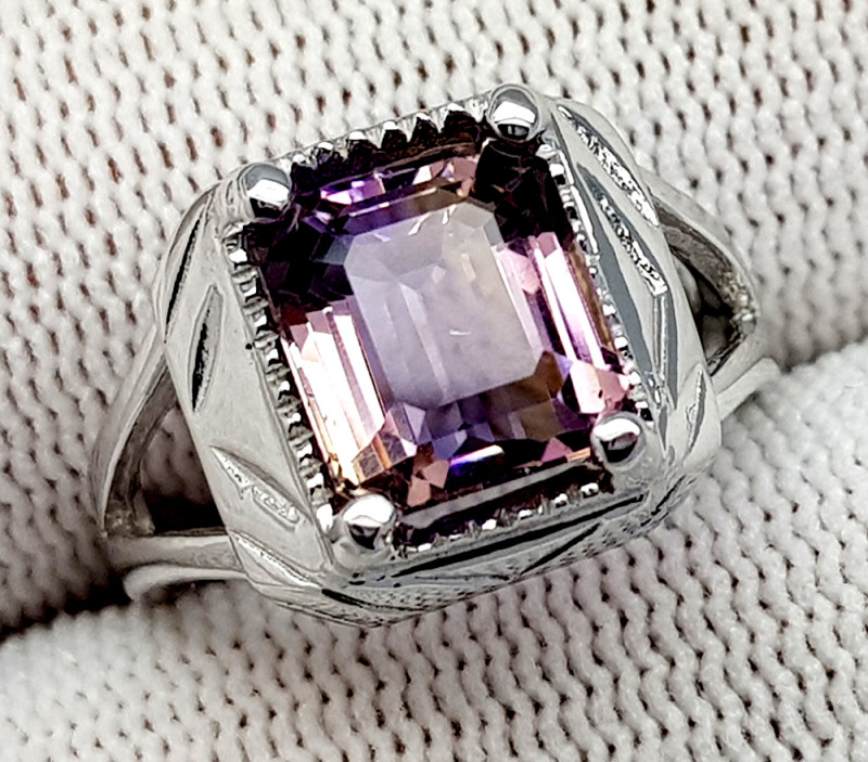 Natural Bolivian Ametrine Beautiful 925 Sterling Silver Ring (NJT52)