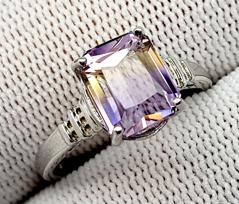 Natural Bolivian Ametrine Beautiful 925 Sterling Silver Ring (NJT53)