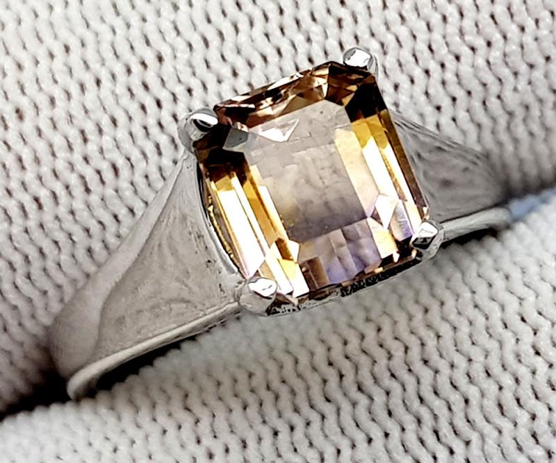 Natural Bolivian Ametrine Beautiful 925 Sterling Silver Ring (NJT54)