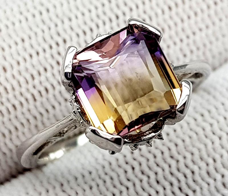 Natural Bolivian Ametrine Beautiful 925 Sterling Silver Ring (NJT55)