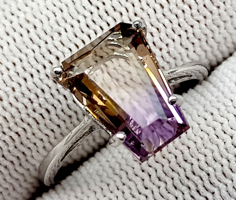 Natural Bolivian Ametrine Beautiful 925 Sterling Silver Ring (NJT56)