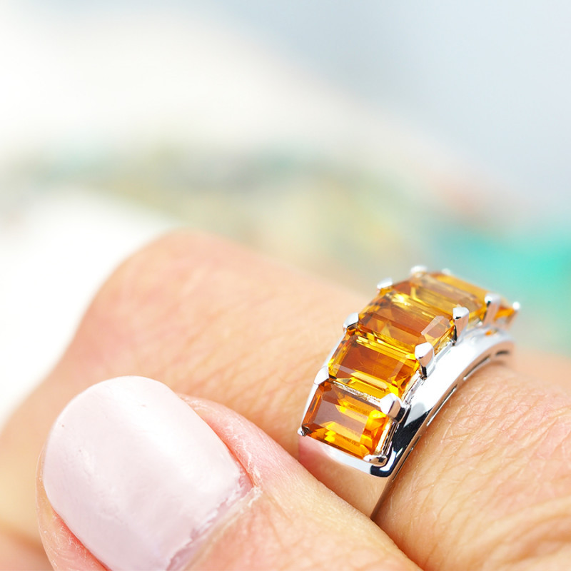 Natural Bright Gem Citrine in Silver Ring F13D