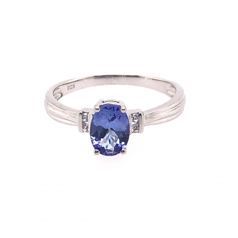 Natural Tanzanite in Silver Princess Ring F18D