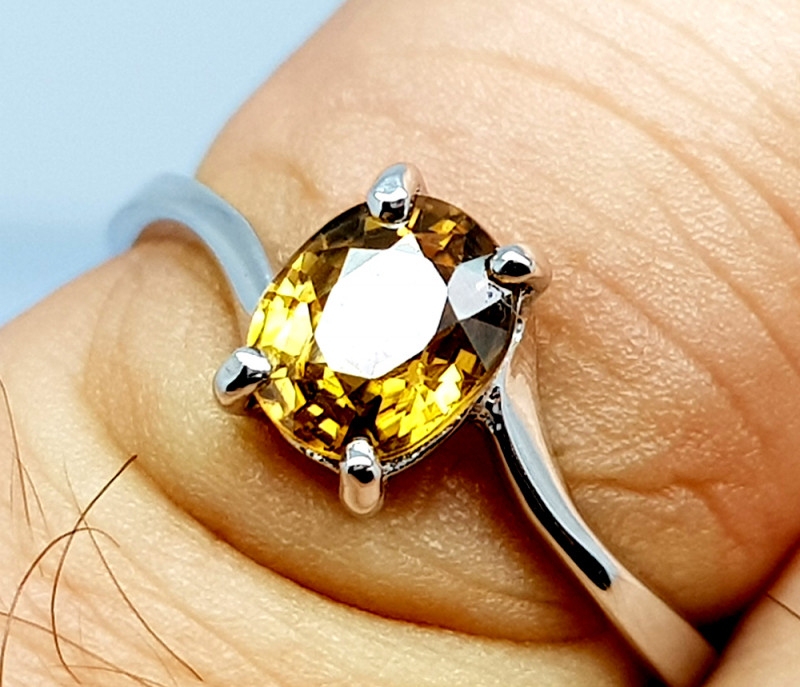 Natural Yellow Zircon 925 Sterling Silver Ring