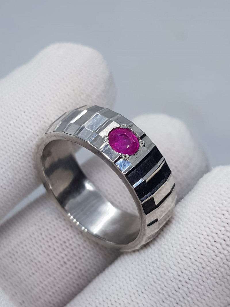 Natural Kashmir Ruby 925 Sterling Silver Handmade Ring