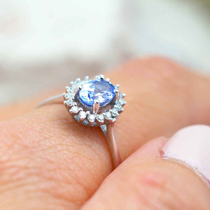 Natural Tanzanite in Silver Princess Ring F19G