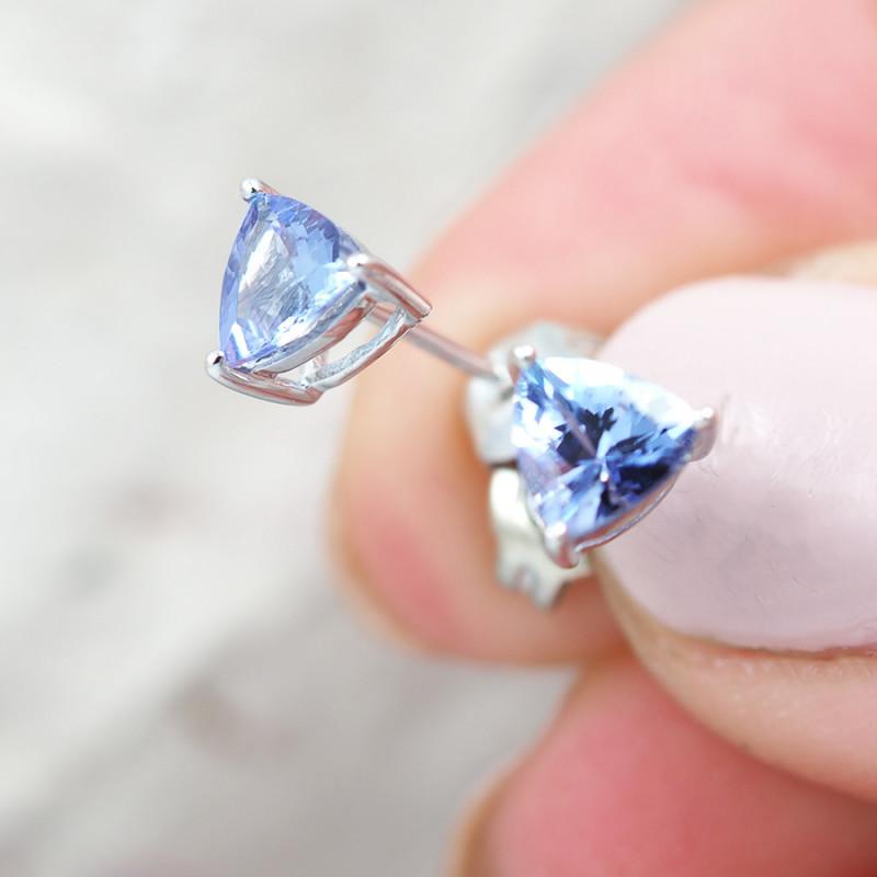 Natural Gem Tanzanite in Silver Earings F21D