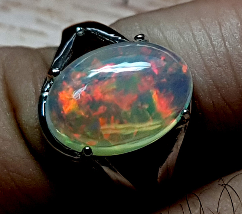 Natural Fire Opal 925 Sterling SIlver Ring  (NJT71)