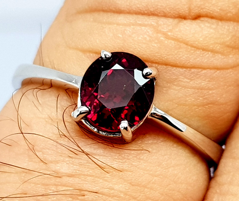 Natural Beautiful Rhodolite Garnet 925 Sterling Silver Ring