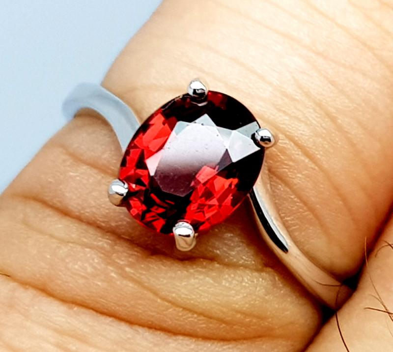Natural Beautiful Rhodolite Garnet 925 Sterling Silver Ring (NJT60)