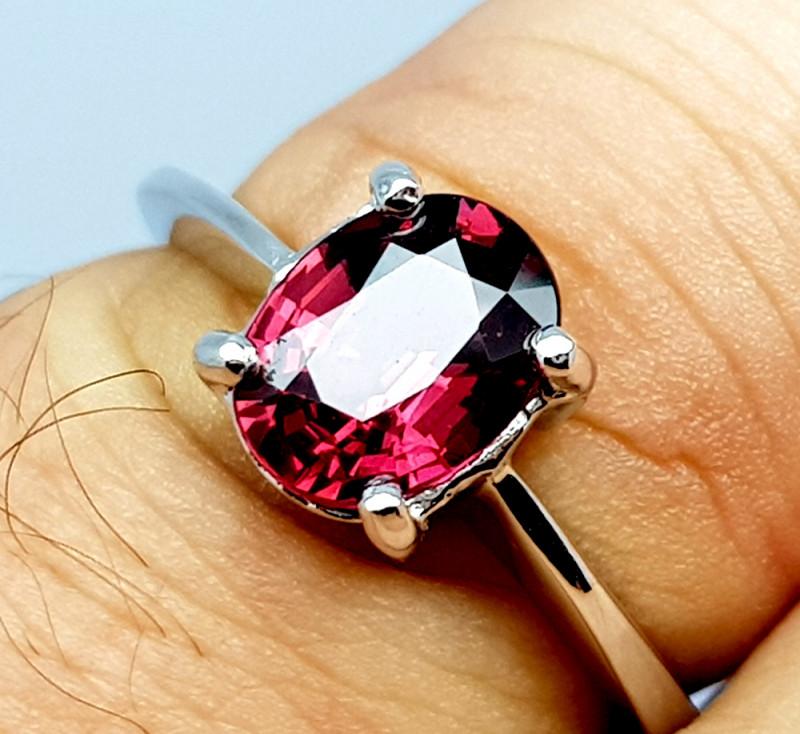 Natural Beautiful Rhodolite Garnet 925 Sterling Silver Ring (NJT61)