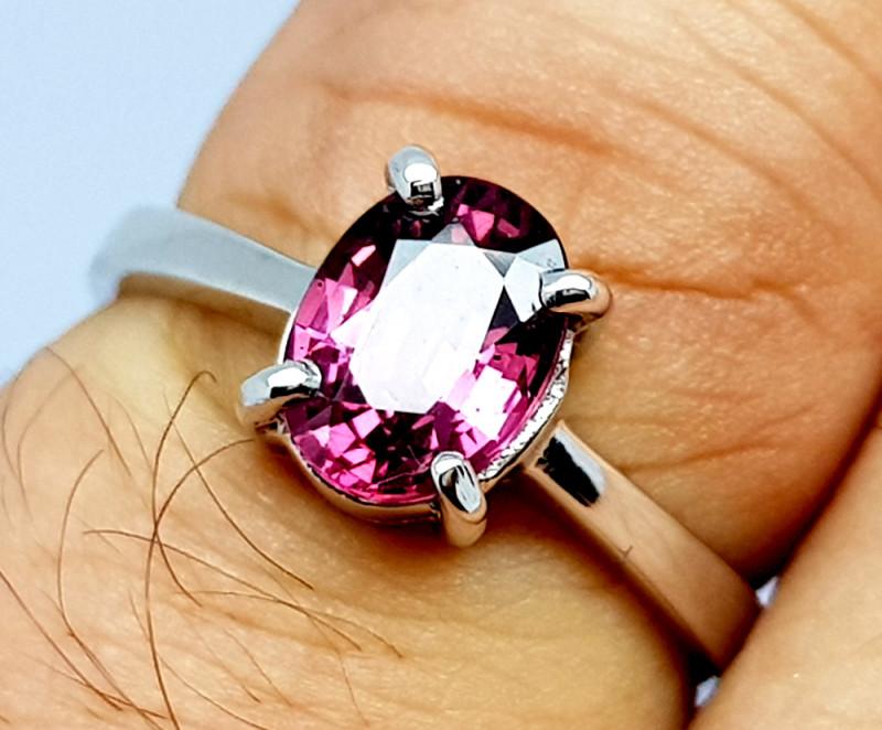 Natural Beautiful Rhodolite Garnet 925 Sterling Silver Ring (NJT65)