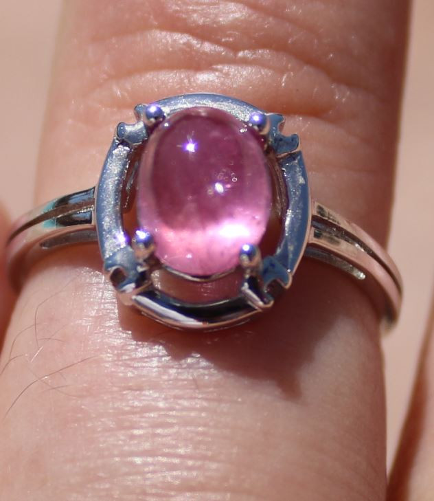 Pink Sapphire 2.55ct Solid 925 Sterling Silver Rhodium Finish Solitaire Rin