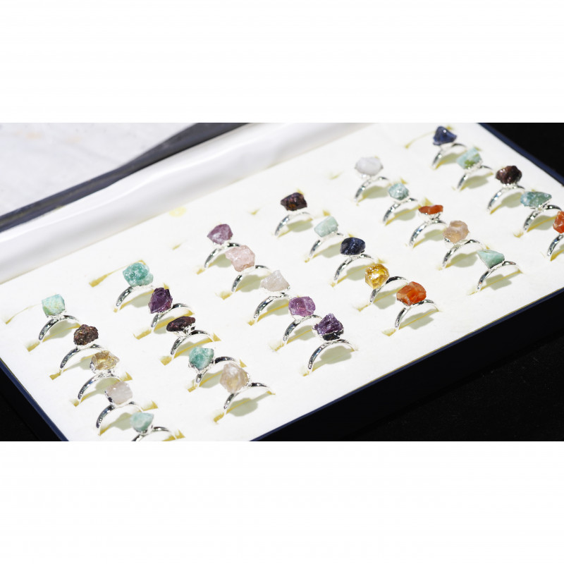 x30 set Rough Raw Colorful Gemstone Silver Plated Rings BR 863