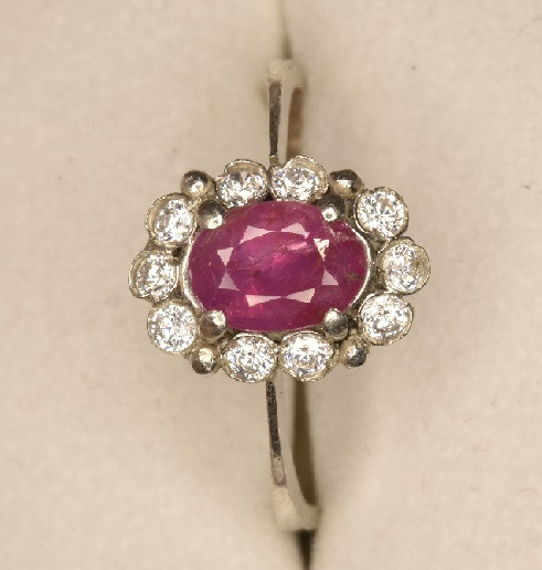 Natural Ruby Ring with Zircon