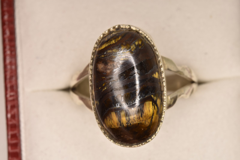Tiger Eye Ring with Silver 925