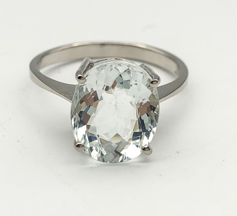 11.89 Crt Natural Aquamarine 925 Silver Ring