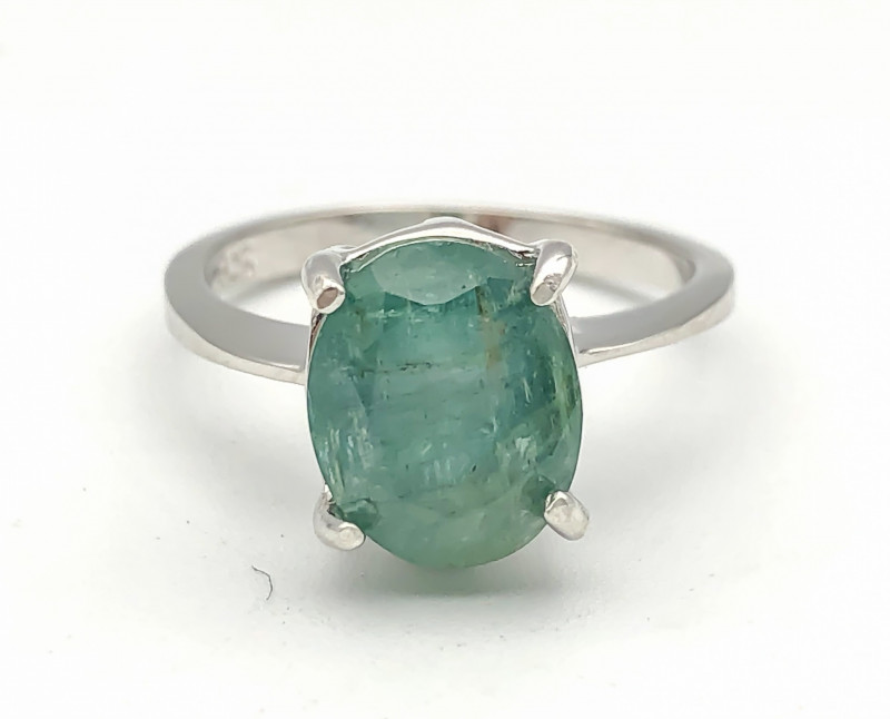 14.78 Crt Natural Emerald 925 Silver Ring